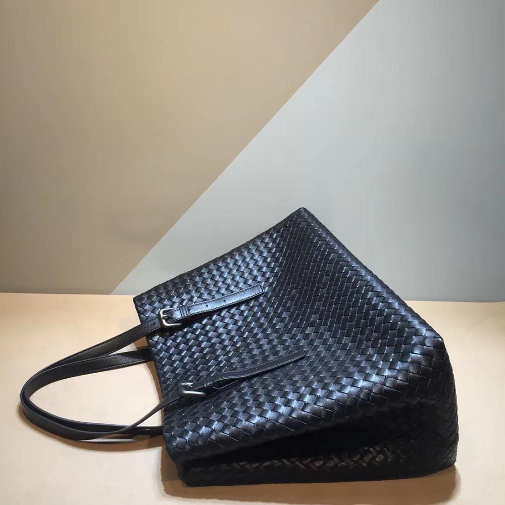 Discount•Woven-Bag Shopping-Handbag Sheepskin Shoulder-Straps Genuine-Leather Woman Adjustable