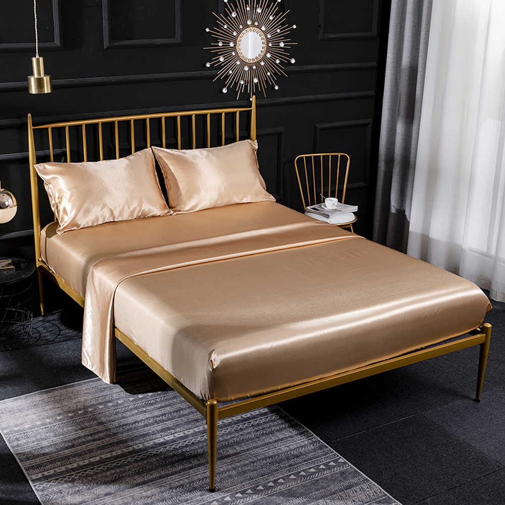 Imitated Silk Flat Sheet+Fitted Sheet+Pillowcase Bedding Cover Set Soft Bed Linens Single/Double/King/Super King Size Golden