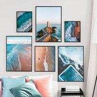 Cuadro sobre lienzo para pared, carteles nórdicos e impresiones, imágenes de paisaje de ola de mar y playa, decoración del hogar para sala de estar