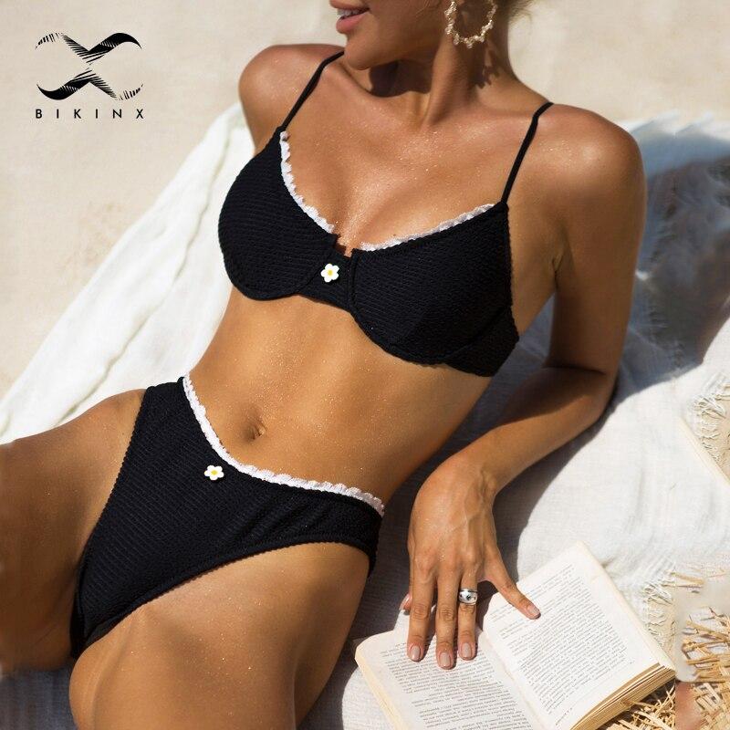 Sexy ruffle ribbed swimwear women Underwired push up bikini set High cut swimsuit 2021 Patchwork bathing suit Swimming Biquini