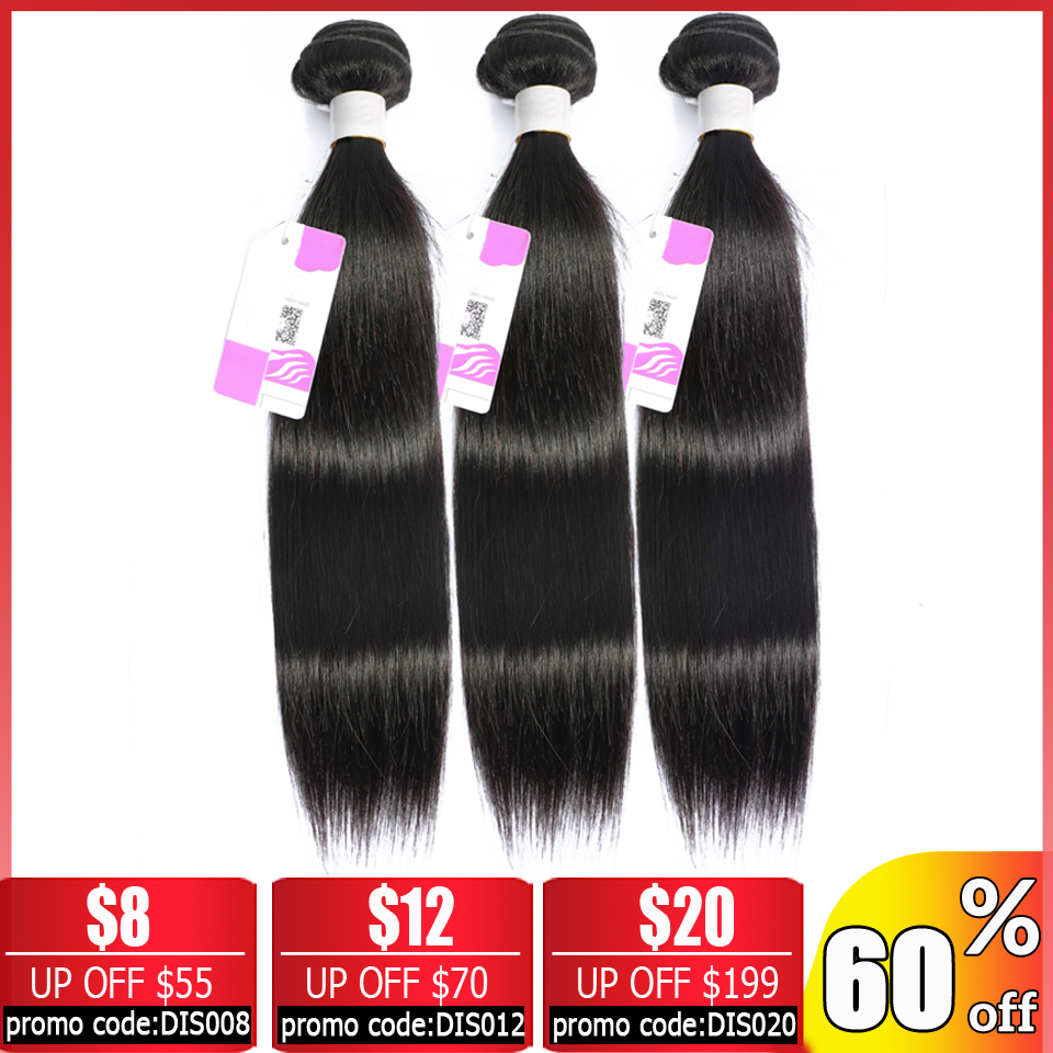 BEAUTY GRACE Straight Hair 3 Bundle Deals Human Hair Bundles Non-remy Hair Extensions Brazilian Hair Weave Bundles