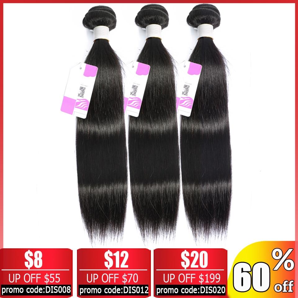 BEAUTY GRACE Straight Hair 3 Bundle Deals Human Hair Bundles Non-remy Hair Extensions Brazilian Hair Weave Bundles