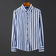 2019Spring m quality men shirts New Arrivals vertical striped shirt solid log sleeve british style cotton men's shirt plus M-5XL british style old tree and single wolf pattern t shirt for men m