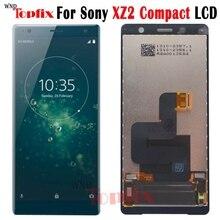 """100% test 5.0 """"inç LCD ekran dokunmatik ekran digitizer Sony Xperia XZ2 kompakt LCD değiştirme için yedek parça parçaları XZ2 Mini LCD"""
