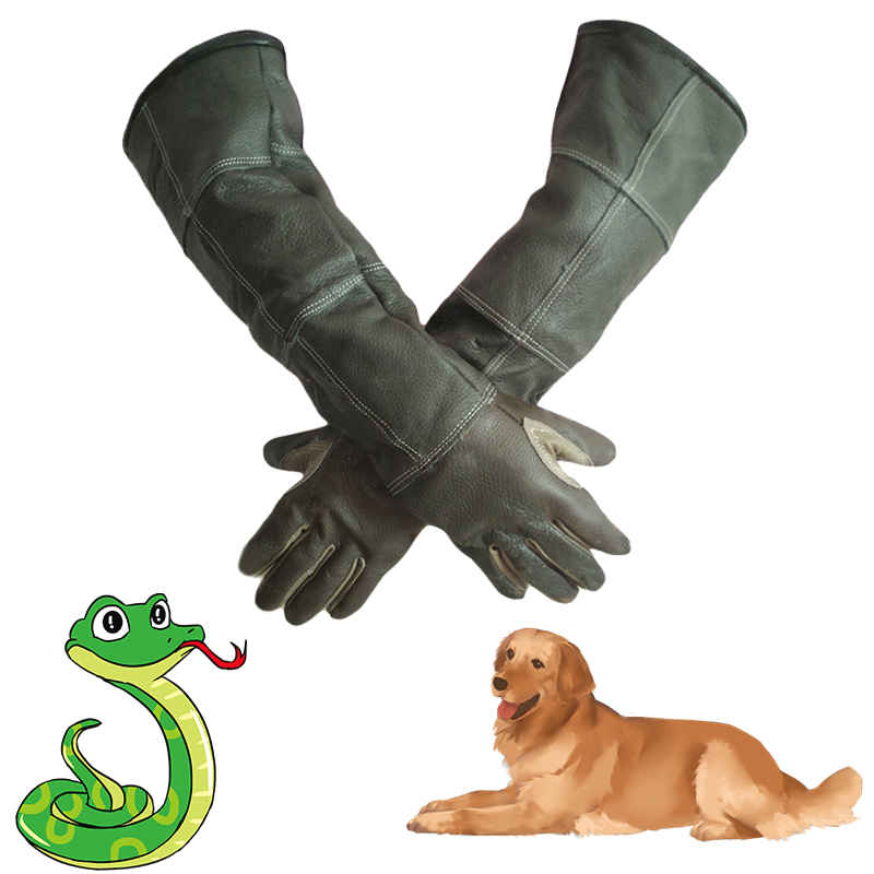1pair Anti Stab Anti bite Leather Thick Gloves Waterproof Cowhide Safety Work long gloves Protective Wear resisting Gardening