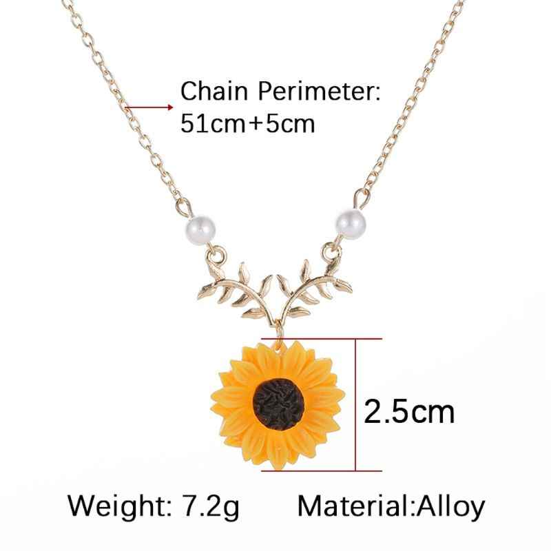 สีส้ม Sunflower Leaf ทำด้วยมือจี้สร้อยคอ Choker แฟชั่นเครื่องประดับ