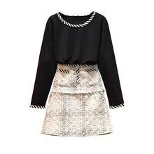 Bigger Sizes L -5XL Women Black Cotton Sweatshirt & Tweed Skirt Couture Autumn Fashion Coat Two Pieces Clothing Set Skirts Suit