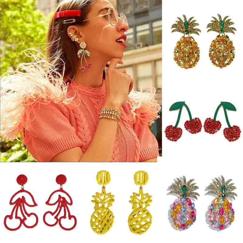 ZA 2019 Cherry Pineapple Handmade Drop Earrings for Women Statement Earring Crystal Glass Fashion New Jewelry Gifts Wedding