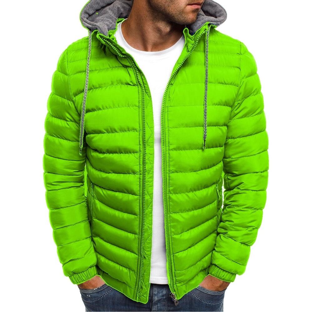 ZOGAA Men Winter Parkas Fashion Solid Hooded Cotton Coat Jacket Casual Warm Clothes Mens Overcoat Streetwear Puffer Jacket