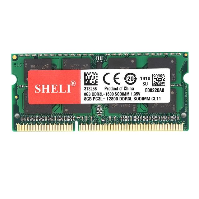 SHELI Nouveaux Cahiers Mémoire 8 GO 2RX8 PC3L-12800S DDR3L 1600MHZ 1.35V 204pin SO-DIMM CL11 Mémoire Pc Portable