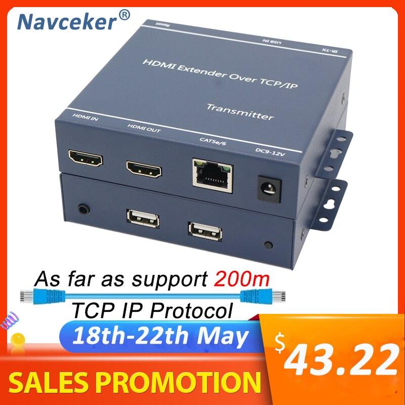 2020 H.264 200m HDMI KVM удлинитель по IP сети HDMI USB удлинитель по RJ45 USB KVM удлинитель HDMI по Cat5e Cat6 для HDTV DVD