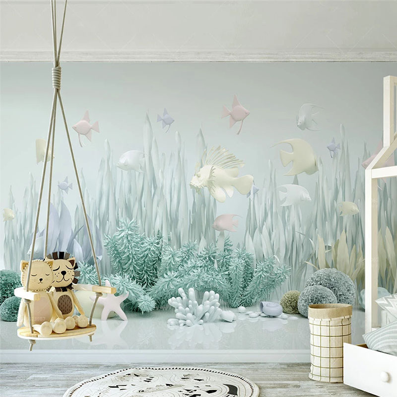Custom Mural Wallpaper Underwater World 3D Children's Room Background Wall Paper Modern Creative Home Decor Wall Painting Fresco