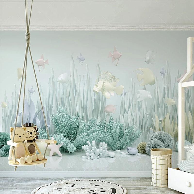 Custom Mural Wallpaper Underwater World 3D Children's Room Background Wall Paper Modern Creative Home Decor Wall Painting Fresco