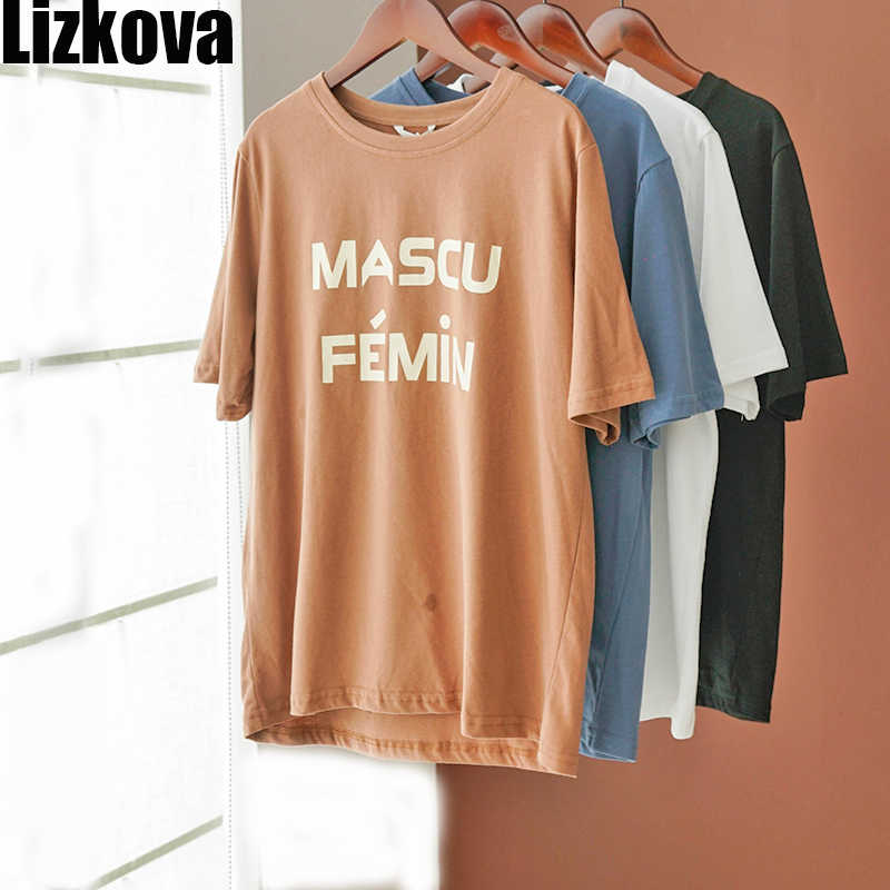 Lizkova White Tee Shirt 여성용 레터 프린트 하라주쿠 캐주얼 셔츠 2020 Summer Short Sleeve Casual Tops Streetwear KT3205