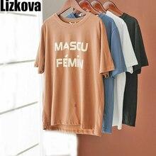 LizkovaสีขาวTEEเสื้อผู้หญิงพิมพ์Harajuku Casualเสื้อ 2020 ฤดูร้อนแขนสั้นเสื้อลำลองStreetwear KT3205