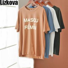 Lizkova  White Tee Shirt Women Letter Print Harajuku Casual Shirt 2020 Summer Short Sleeve Casual Tops Streetwear KT3205