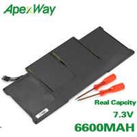 """Apexway 7.3 v 6600 mah bateria genérica para apple macbook air 13 """"a1405 a1369 produção por 2011"""
