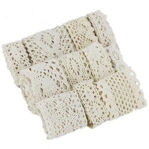 Image 5 - (5メートル/ロール) ホワイトベージュ綿刺繍レースネットリボンdiyの縫製手作りクラフト材料