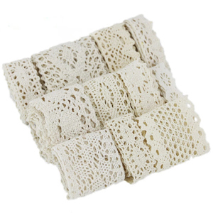 Image 5 - (5Meter/roll) White Beige Cotton Embroidered Lace Net Ribbons Fabric Trim DIY Sewing Handmade Craft Materials
