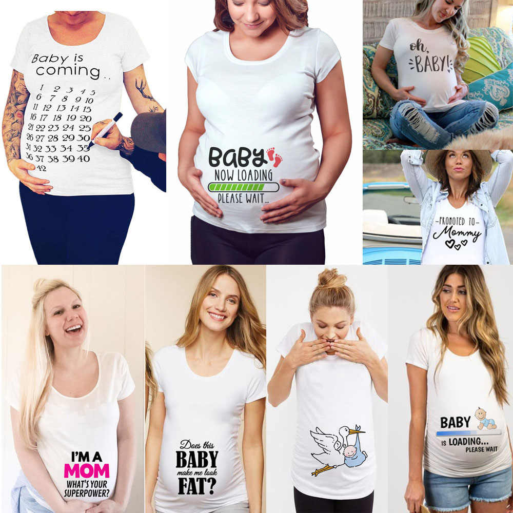 2020 Brand New Women Pregnancy Clothes Baby Now Loading Pls Wait Maternity T Shirt Summer Short Sleeve Pregnant T-shirts