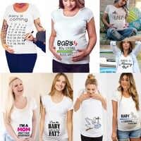 2020 Brand New kobiety ubrania ciążowe dziecko teraz ładowanie Pls czekać macierzyński T Shirt lato z krótkim rękawem t-shirty w ciąży