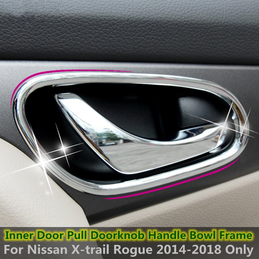 ABS Chrome Bright Style Chrome Inner Car <font><b>Door</b></font> <font><b>Handle</b></font> Frame Bowl Cover Trim For <font><b>Nissan</b></font> Rogue / <font><b>X</b></font>-<font><b>trail</b></font> 2014 2015 2016 2017 2018 image