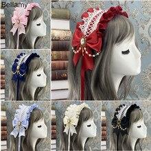 Lovely Sweet Hair Hoop Anime Maid Cosplay Headband Lolita Lace Flower Headwear Hair Accessory Hand made craftslolita hai