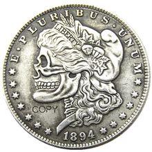 США Хобо 1894 P/S/о Морган доллар Череп Зомби Скелет ручная резная Посеребренная копия монет