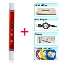 Myriwell 3d Pen + 3 Colori * 5 Metri Abs Filamento (200 Metri), 3d Penna Stampa 3d Penna Magica, Penna di Migliore Regalo per Bambini, Supporto Mo