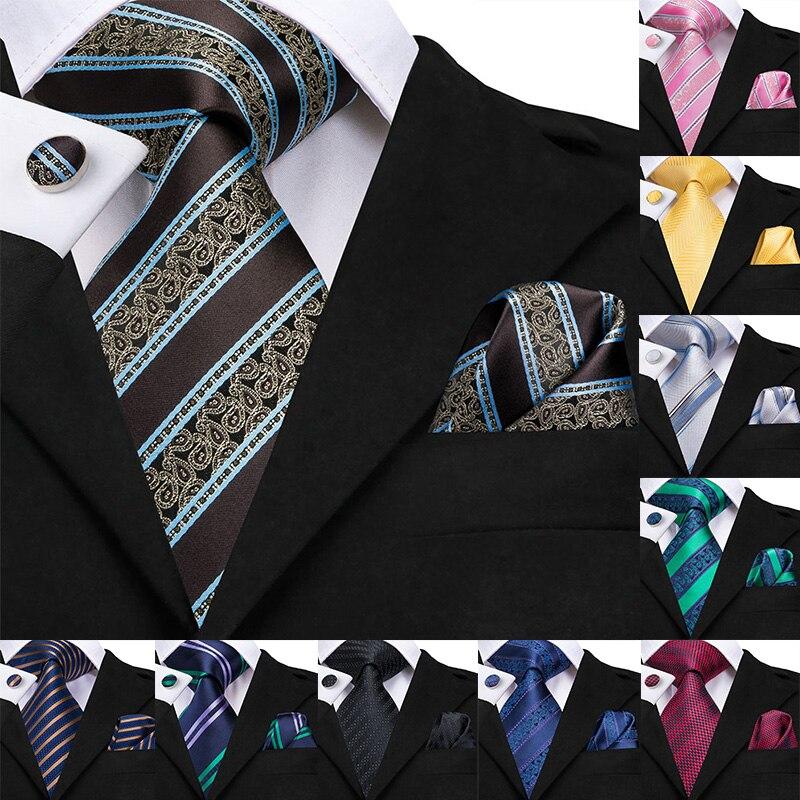 Hi-Tie Businesss Blue Mens Ties Set Silk Striped Tie Hanky Cufflinks Set 8.5cm Wide Classic Business Wedding Pocket Square Tie