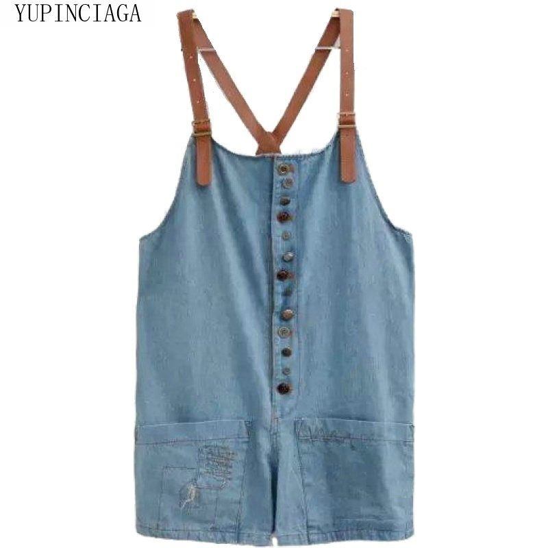 Women Playsuits Jeans Pants Preppy Style Loose Strap Pants Casual Denim Playsuits Sweet Style For Girl And Student YUPINCIAGA
