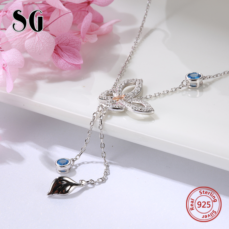 SG Fashion dainty butterfly Necklace Long women tassel cute flower accessories sterling silver necklace 2019 free shiping