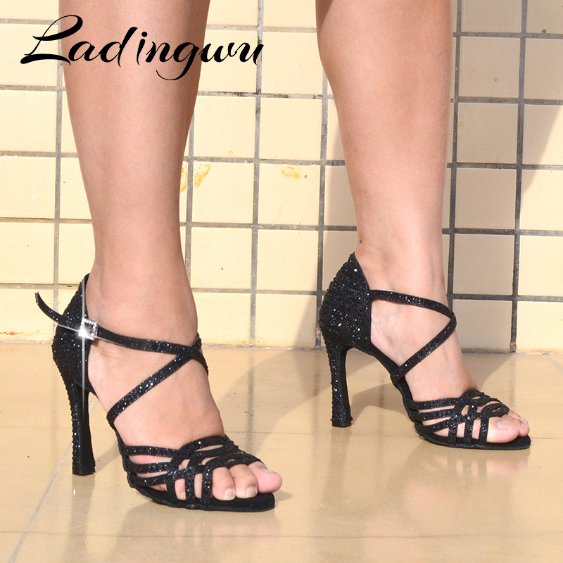 Ladingwu Latin Black Rhinestone Dance Shoes Women Salas Ballroom Shoes Cuba Heel 10cm Waltz Soft Bottm Hot Sale Dance Shoes