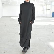 Maxi Dresses Robe Turtleneck Vestidos Pleating Long-Sleeve Vintage Women's Autumn Female