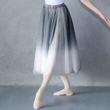 Kadın degrade şifon uzun elbise giyim yetişkin DanceChiffon elbise balerin dans eteği