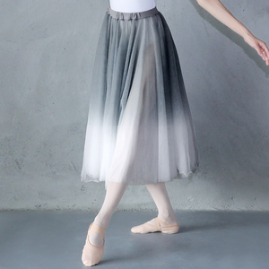 Image 1 - Kadın degrade şifon uzun elbise giyim yetişkin DanceChiffon elbise balerin dans eteği