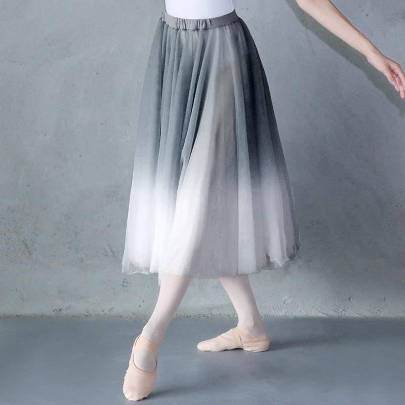 Women Gradient Chiffon Long Dress Dancewear Adult DanceChiffon Dress Ballerina Dance Skirt