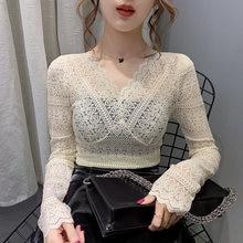 Женская кружевная блузка с длинным рукавом и v образным вырезом