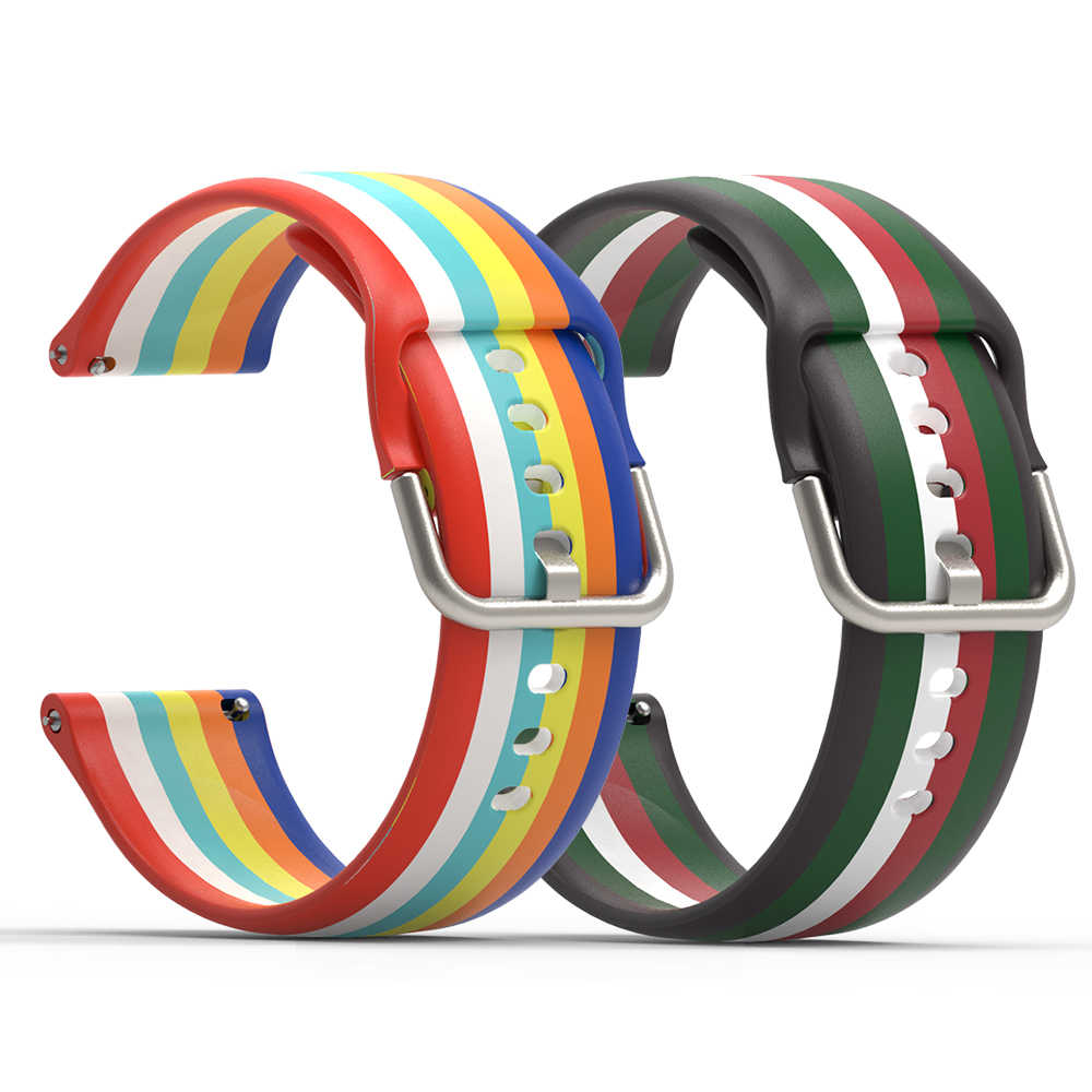 Bracelet en Silicone arc-en-ciel pour Samsung Galaxy Watch 42mm 46mm, pour Active 2 Gear S3 Watch gt 2 Amazfit bip, 20mm 22mm