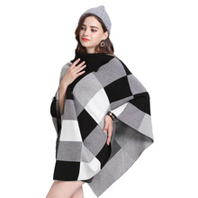 2019 Turn Down Neck Big Plaid Sweater Winter Autumn Black Grey Cloak Knitted Long Plus Size Loose Poncho Women Out Wear Pullover