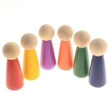 6 pçs de madeira peg bonecas figuras de madeira natural decorativo boneca corpos diy artesanato crianças brinquedos educativos decoração para casa ornamentos