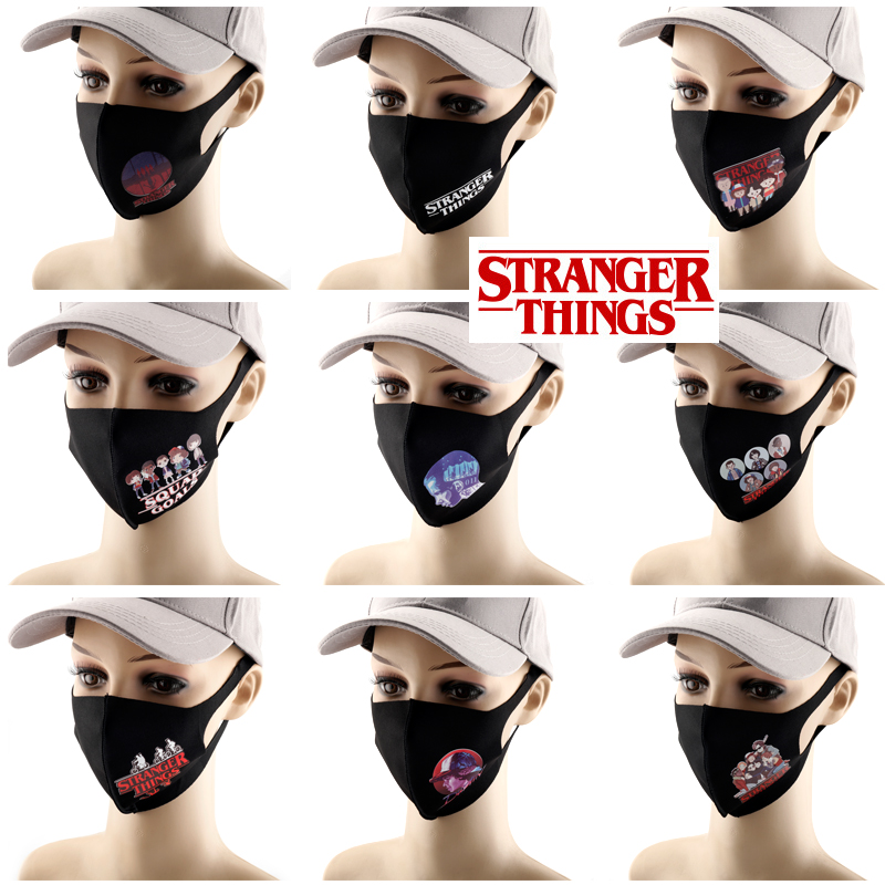 Stranger Things Printed Masks Men Women Reusable Anti Pollution Riding Face Shield Dustproof Waterproof Breathable Masque Mask
