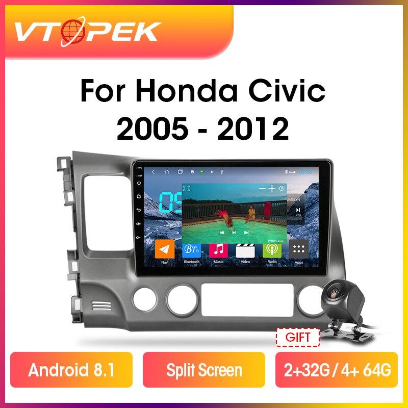 """Rádio multimídia automotivo, rádio multimídia para carro com android 8.1, navegação gps, dsp para honda 10 """"2 + 32g unidade de cabeça civic 2005-2011 2din"""