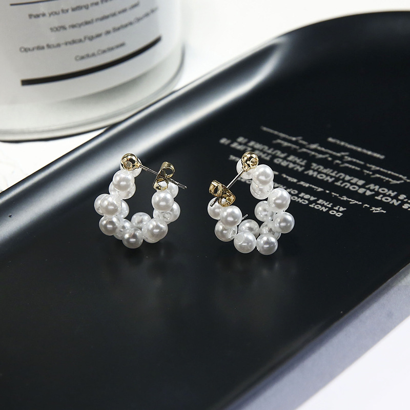 2020 New Arrival Classic Pearl Round Women Hoop Earrings Creative Pearl Earrings Back Hanging Earrings Female Jewelry(China)