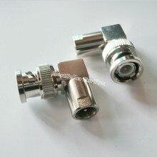 1 pces fme plug macho para conector bnc macho 90 graus rf conector ângulo direito m/m adaptador