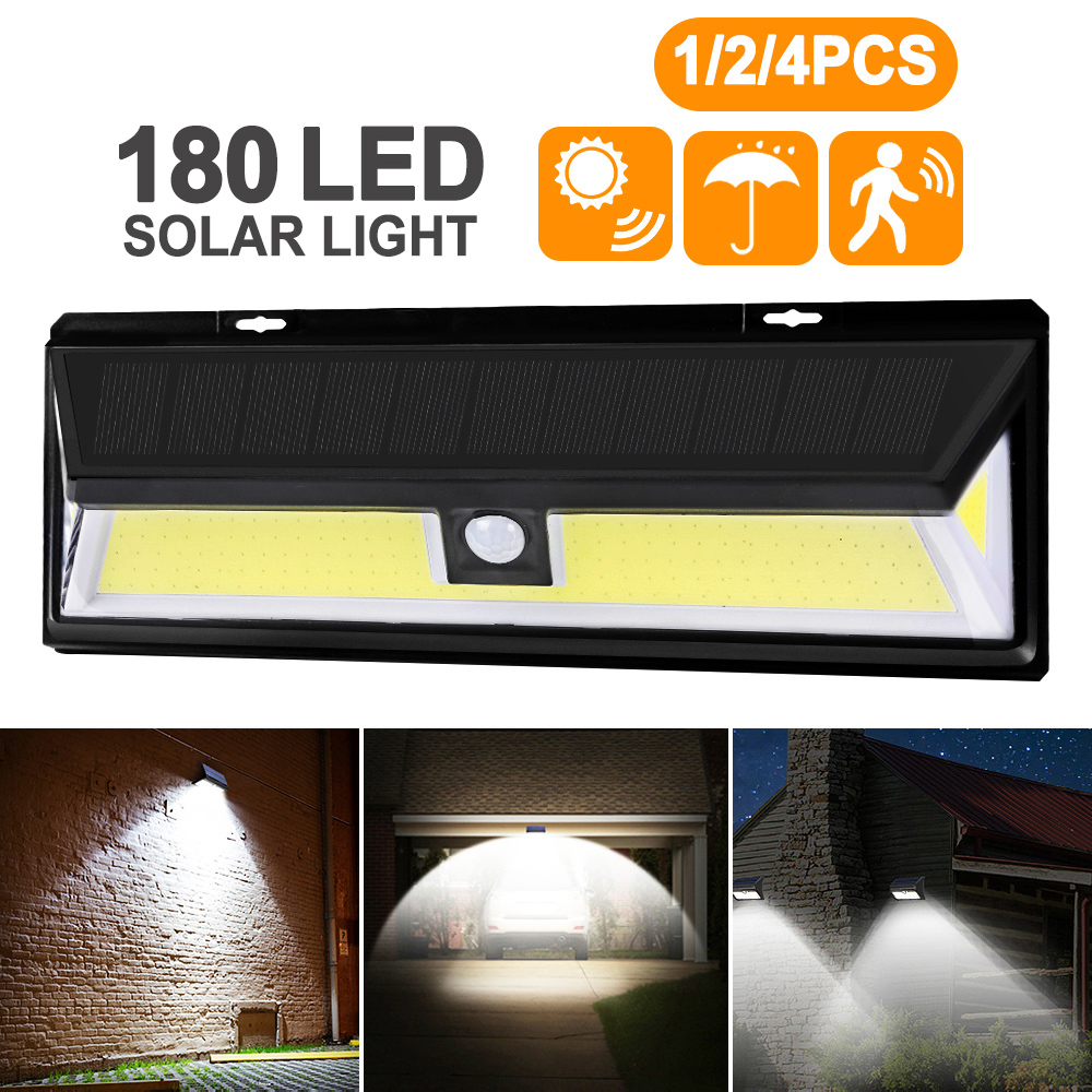 4pcs 180 LED Solar Power Motion Sensor Light COB 3 Modes Outdoor Garden Yard Waterproof Energy Saving Pathway Solar Wall Lamp