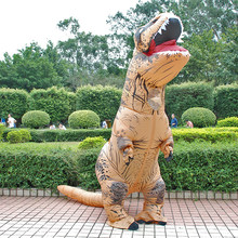 Adult Inflatable Costume Dinosaur Costumes T REX Blow Up Fancy Dress Mascot Cosplay Costume For Men Women Kids Dino Cartoon(China)