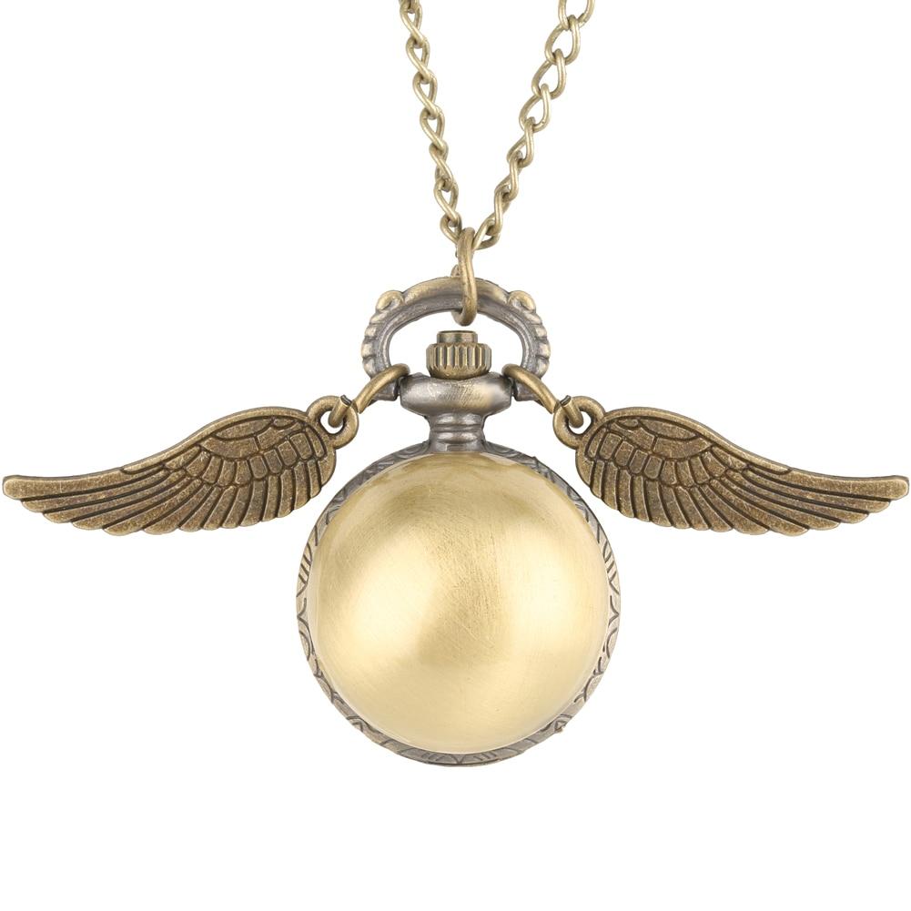 Retro Ball Shaped Potter Quartz Pocket Watch Women Creative Golden Necklace Chain Wings Pendant Watches Men Gift Montre De Poche