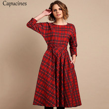 Classic England Style Red Plaid Dress Women Autumn 3/4 Sleeves O-Neck Sashes A-Line Casual Dress Vintage Midi Party Dresses(China)