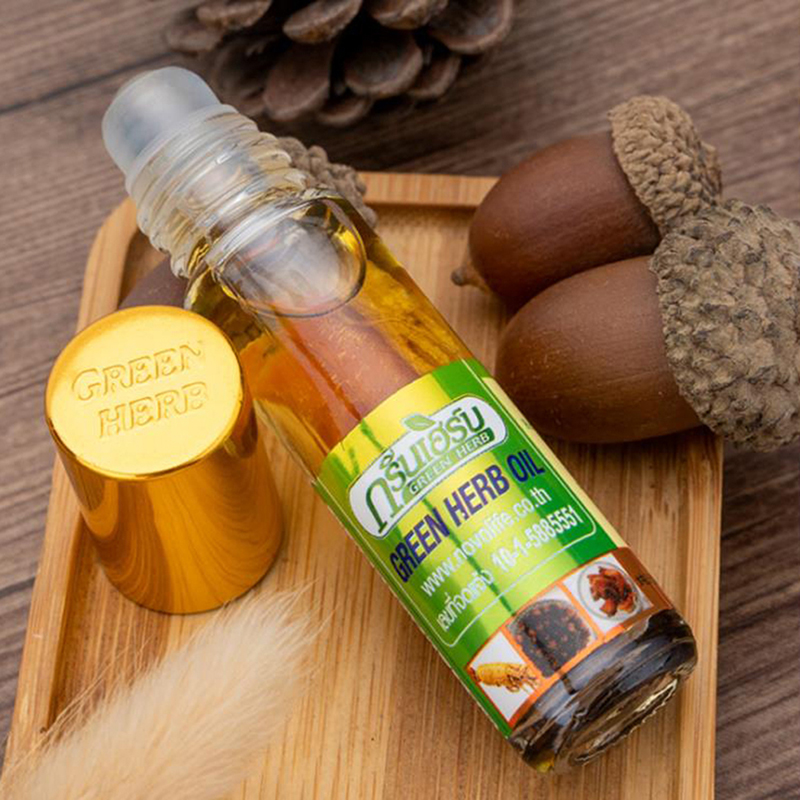 8ml Natural Balsam Balm Thai Green Herb Oil Herbs Thailand Green Ointment Muscle Pain Relief Ointment Compound Essential Oil